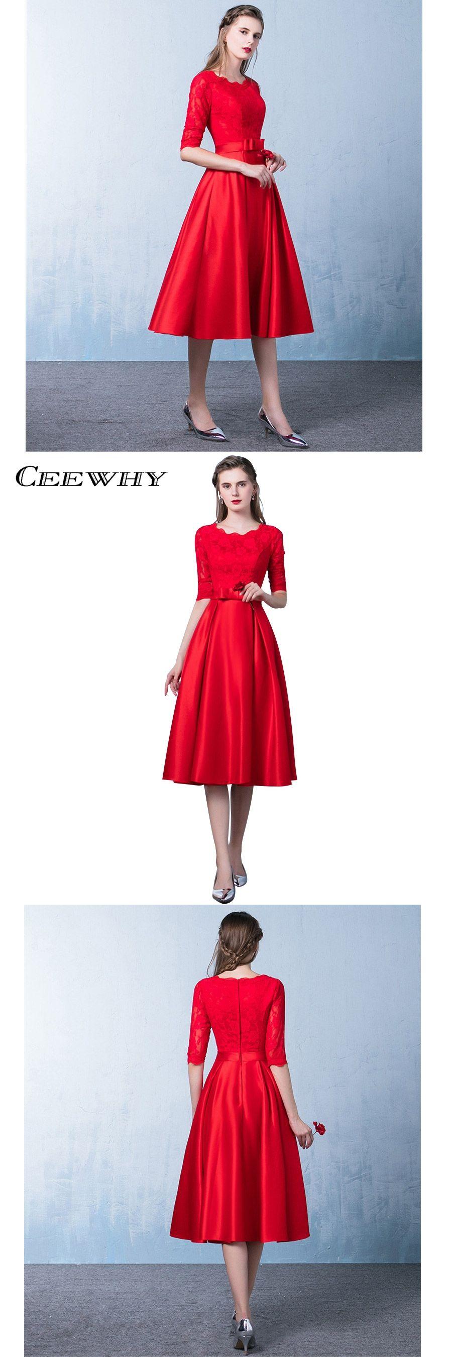 CEEWHY Elegant O-Neck Tea-length Lace Evening Dress Half Sleeve Prom Dresses  Robe f1a48964e5b1
