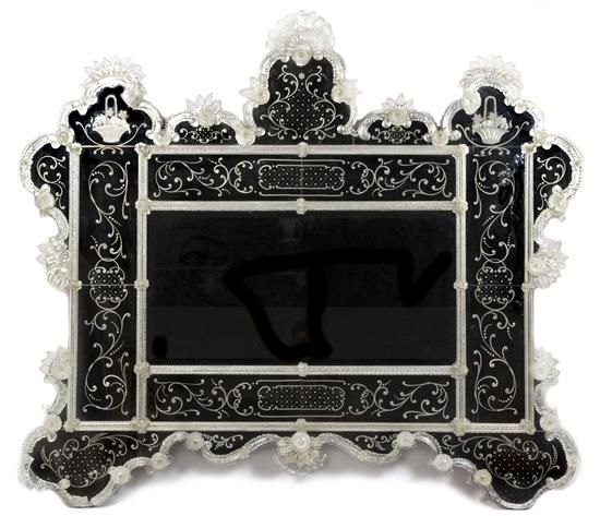 Contemporary A Venetian Etched Glass Mirror retailed by Pauly & C Venice Height Awesome - Beautiful venetian glass mirror Trending