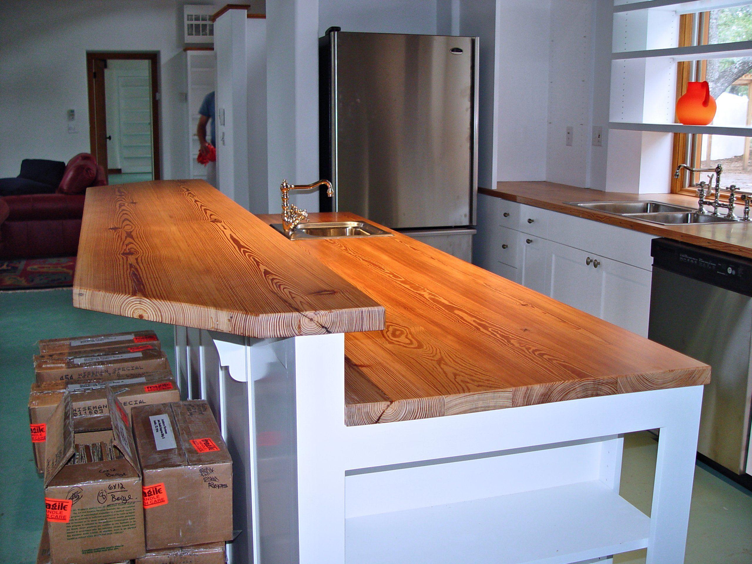 Devos Custom Woodworking Reclaimed Longleaf Pine Wood Countertop
