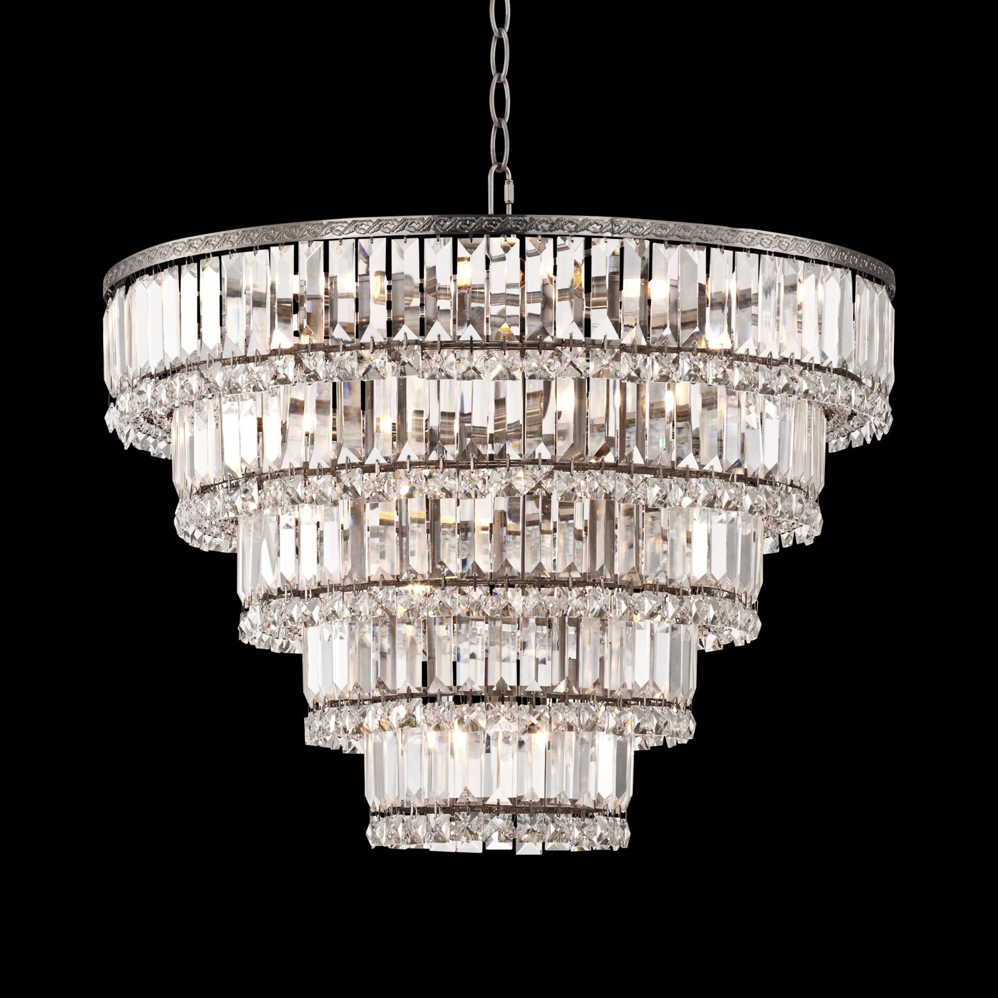 Magnificence Satin Nickel 24 1 2 Wide Crystal Chandelier 1d961 Lamps Plus Crystal Chandelier Crystal Ceiling Light Metal Chandelier