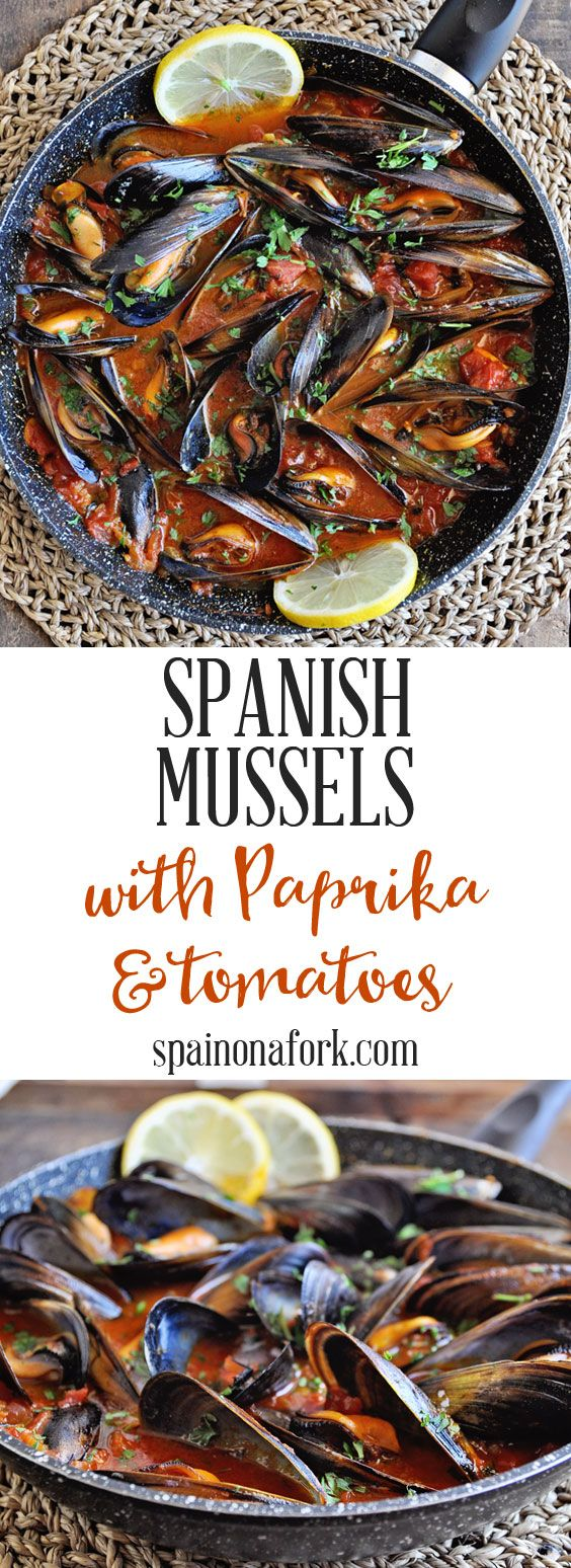 Spanish Mussels Recipe with Paprika & Tomatoes. This tapas appetizer is easy to make and loaded with Spanish flavors. #spanishthings