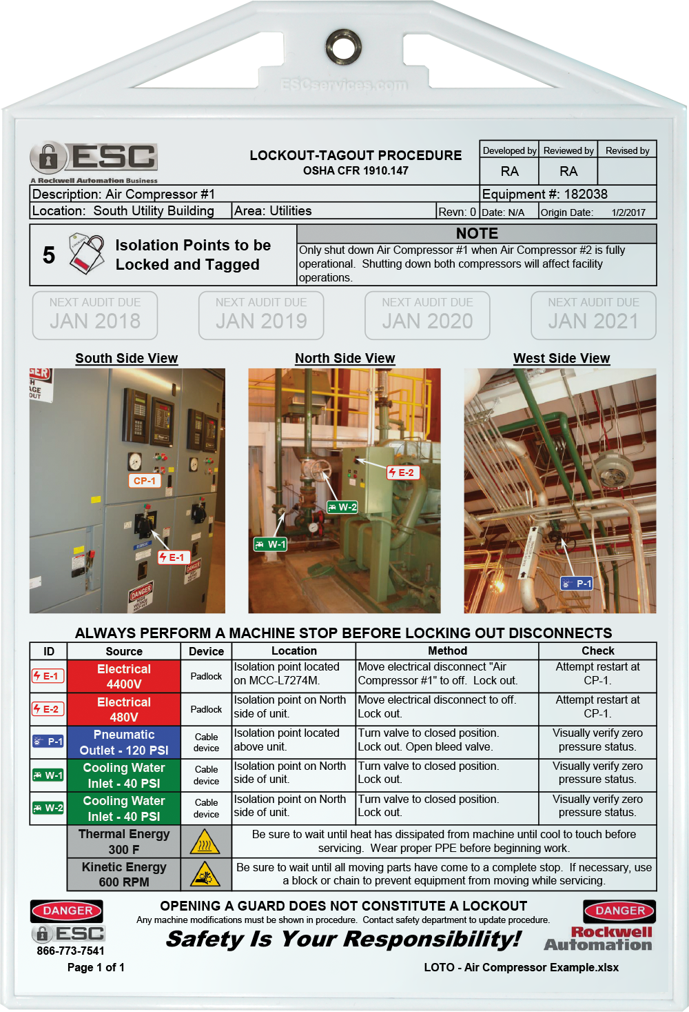 examples of lockout tagout procedures esc services. Black Bedroom Furniture Sets. Home Design Ideas