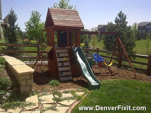 Relocated and leveled a previously installed playset in ...