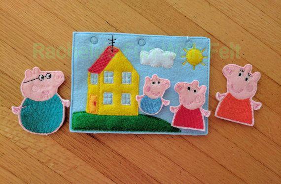 Peppa Pig Finger Puppet Set Pretend Play Felt Story Busy Book Quiet Bag