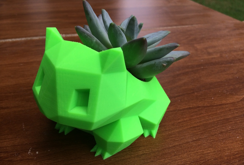 3d Printed Bulbasaur Plant Pot Thinkgeek Video Games