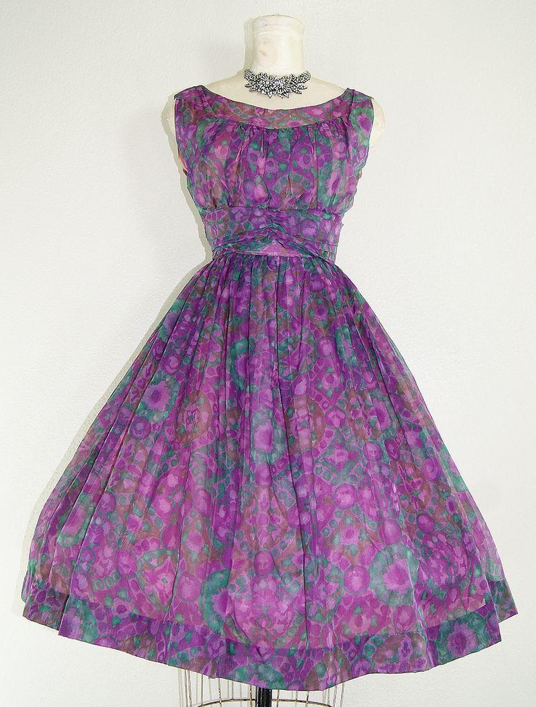 Sweet Jane 1950s vintage floral Dress full skirt rouching purple ...