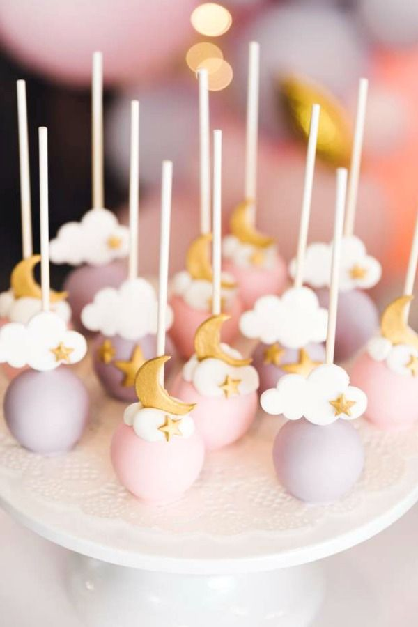 Take a look at these sweet star, moon and cloud cake pops at this twinkle twinkle little star birthday party!  See more party ideas and share yours at CatchMyParty.com #catchmyparty #partyideas #4favoritepartiesoftheweek #starcakepops  #starparty