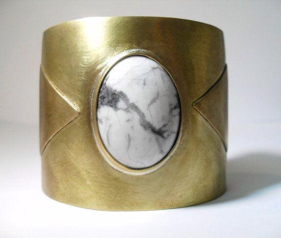 Howlite Triangle Brass Cuff Bracelet