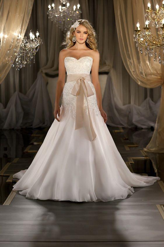 Bustle Martina Liana 411 With GiGi Sash Silk Organza A Line Designer Wedding Gown Has