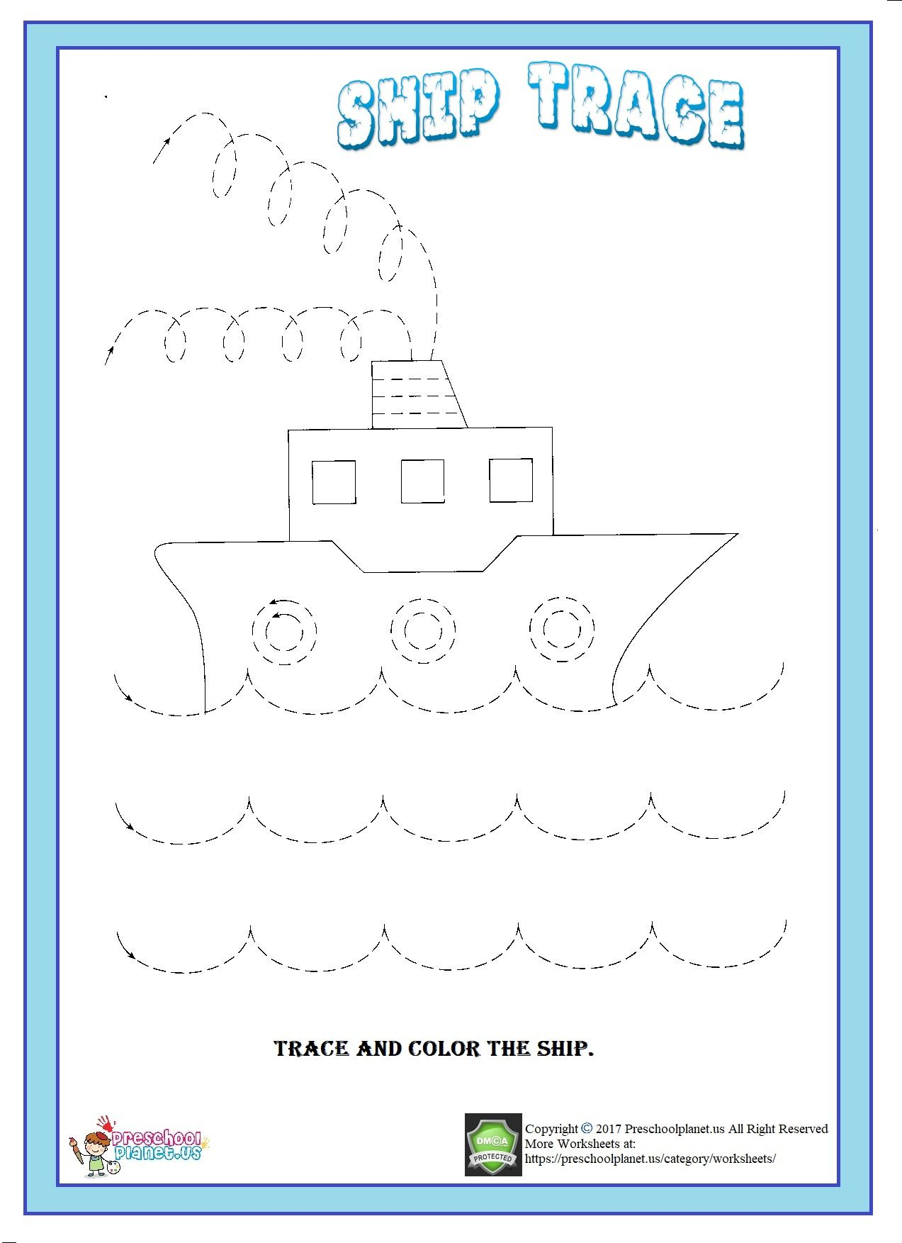 Ship Trace Worksheet Kindergarten Worksheets Kindergarten Worksheets Printable Color Activities [ 1753 x 1273 Pixel ]