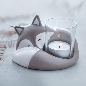 Fuchs frederico mit tischlicht grau basteln zuhause for Wohndesign fuchs
