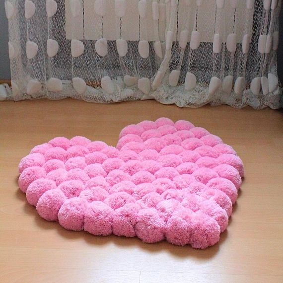 Pom Pom Rug For Girl Room Soft Rug For Baby Room Nursery
