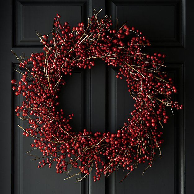 Shop Red Berry Wreath Twigs Of Faux Berries Wind A Large Wreath