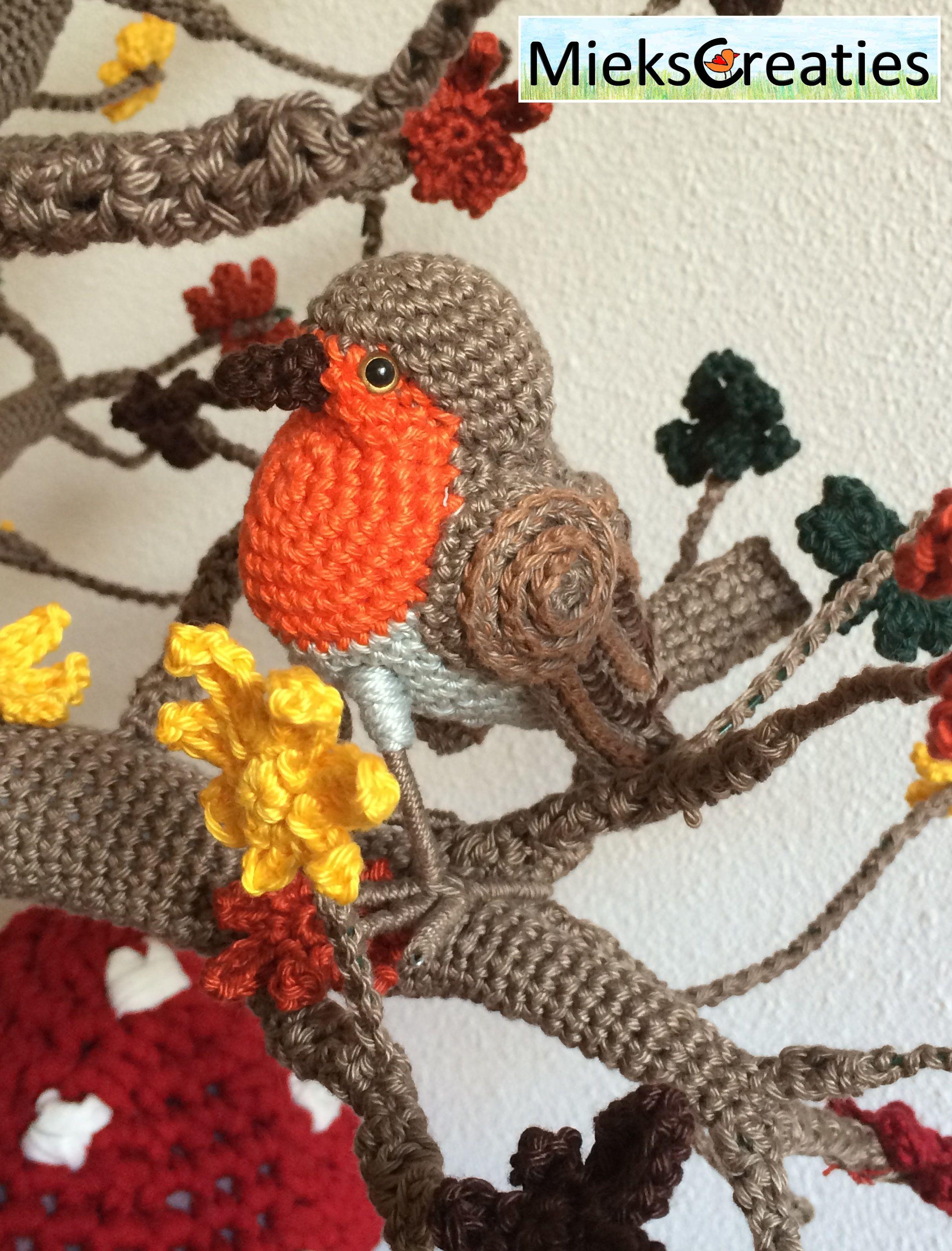 Robin, roodborstje, haakpatroon miekscreaties, vogeltje, vogel, bird