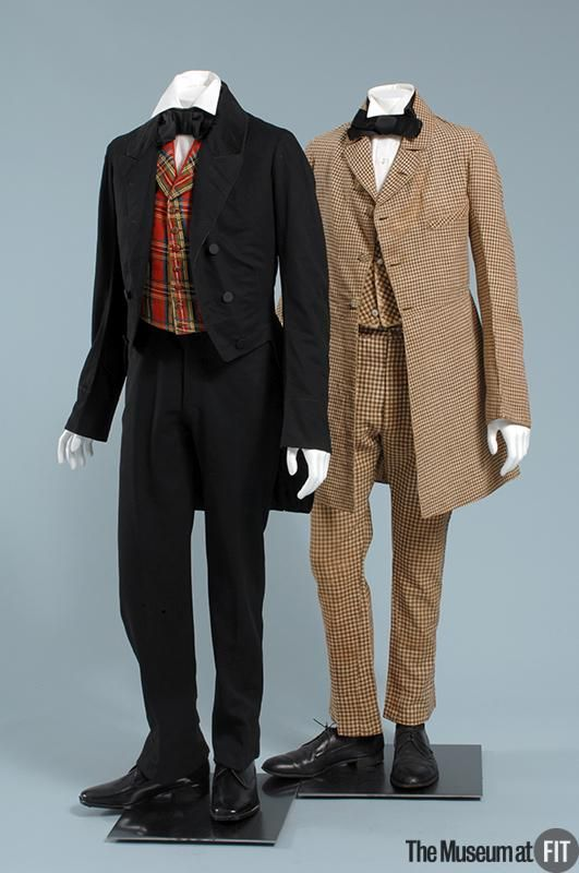 1d976d4ee7 Man s suit (on the right) Medium  Brown and white cotton and linen Date   1840s Country  USA Object Number  P86.17.1