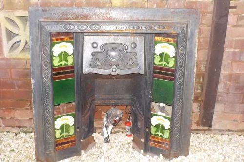 Fire place insert Cast iron with tiles Victorian Vintage Style | eBay