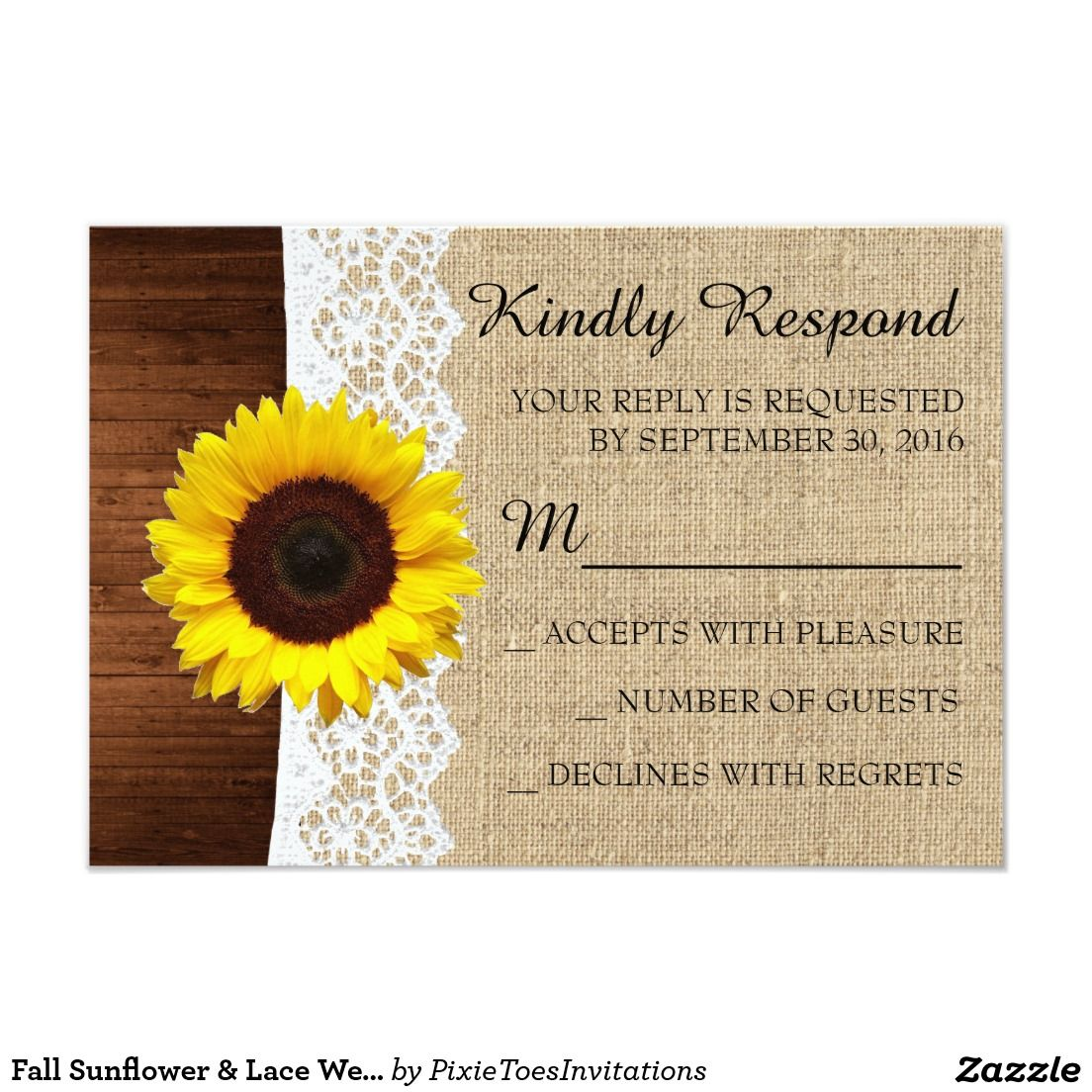Fall Sunflower & Lace Wedding Invitation RSVP Card