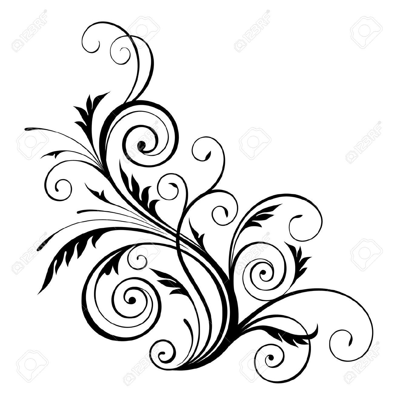 Vector Floral Pattern Design Element Royalty Free Cliparts