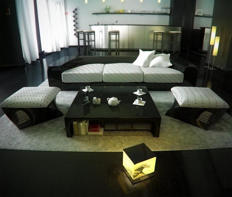 feng-shui-wohnzimmer-einrichten-modern-hochglanz-schwarz-weiss - feng shui im wohnzimmer