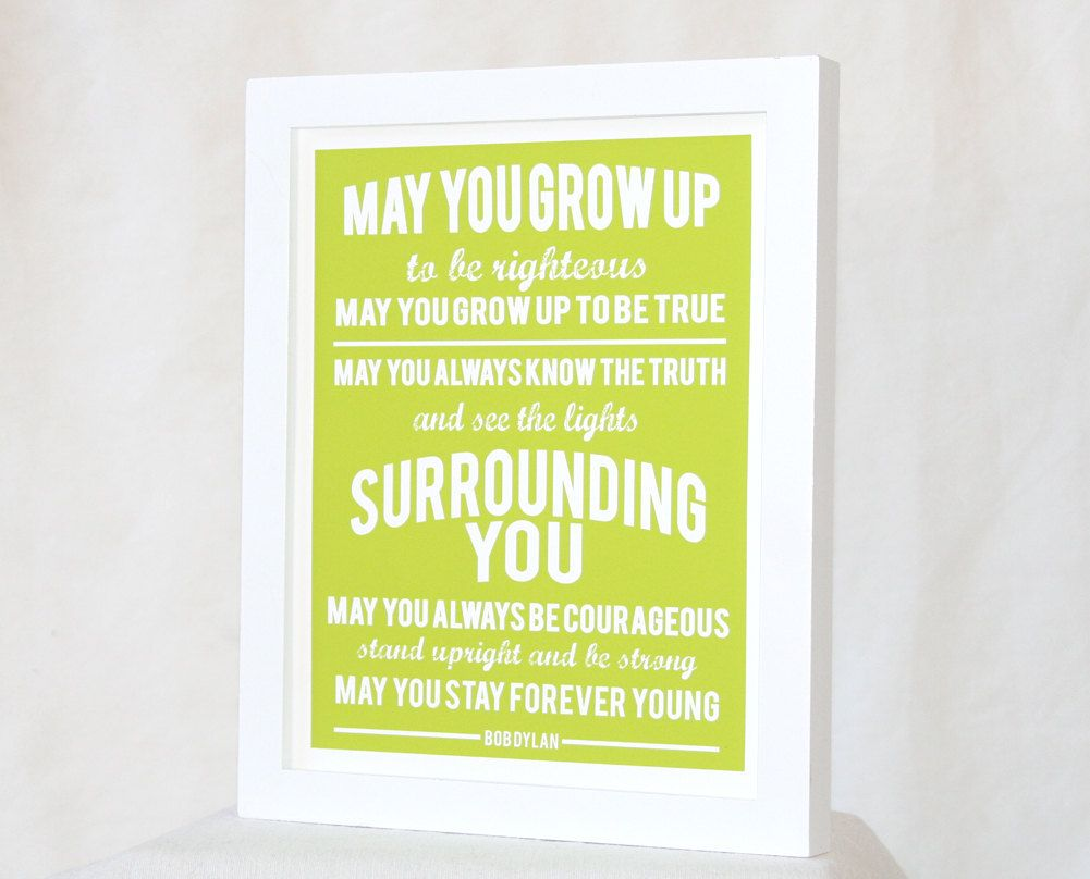 Bob Dylan Forever Young PARENTHOOD THEME SONG Posters, Wall Art ...