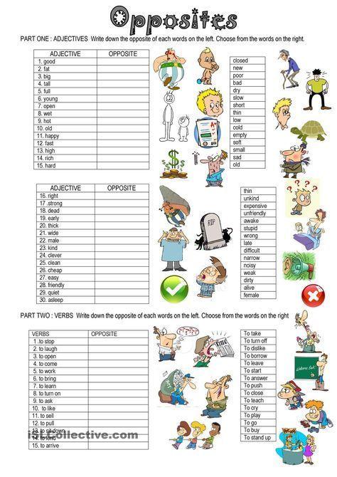 Opposites English Classroom Learn English Teaching English Free printable worksheets on opposites