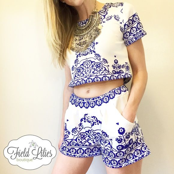 d978987cd250fd Two Piece Porcelain Print Set Trendy white and blue porcelain print set.  Short sleeve crop top and matching shorts with elastic waist