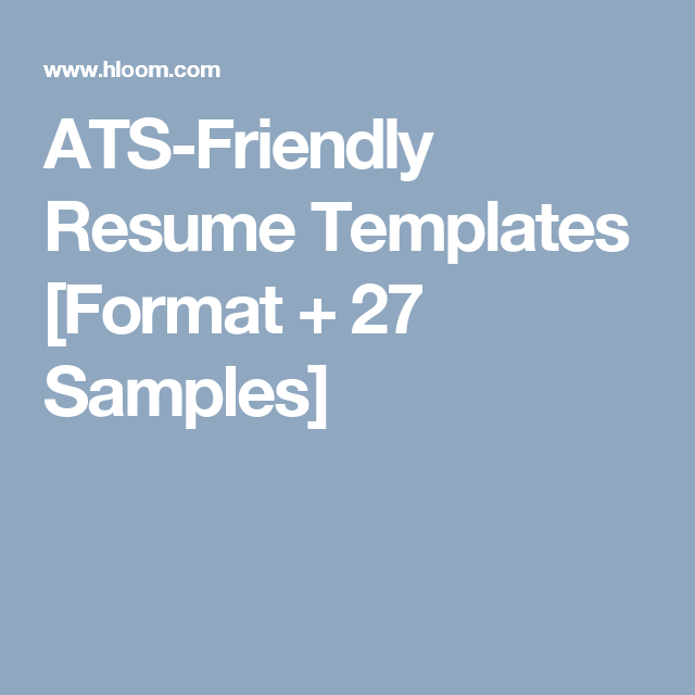 ats friendly resume