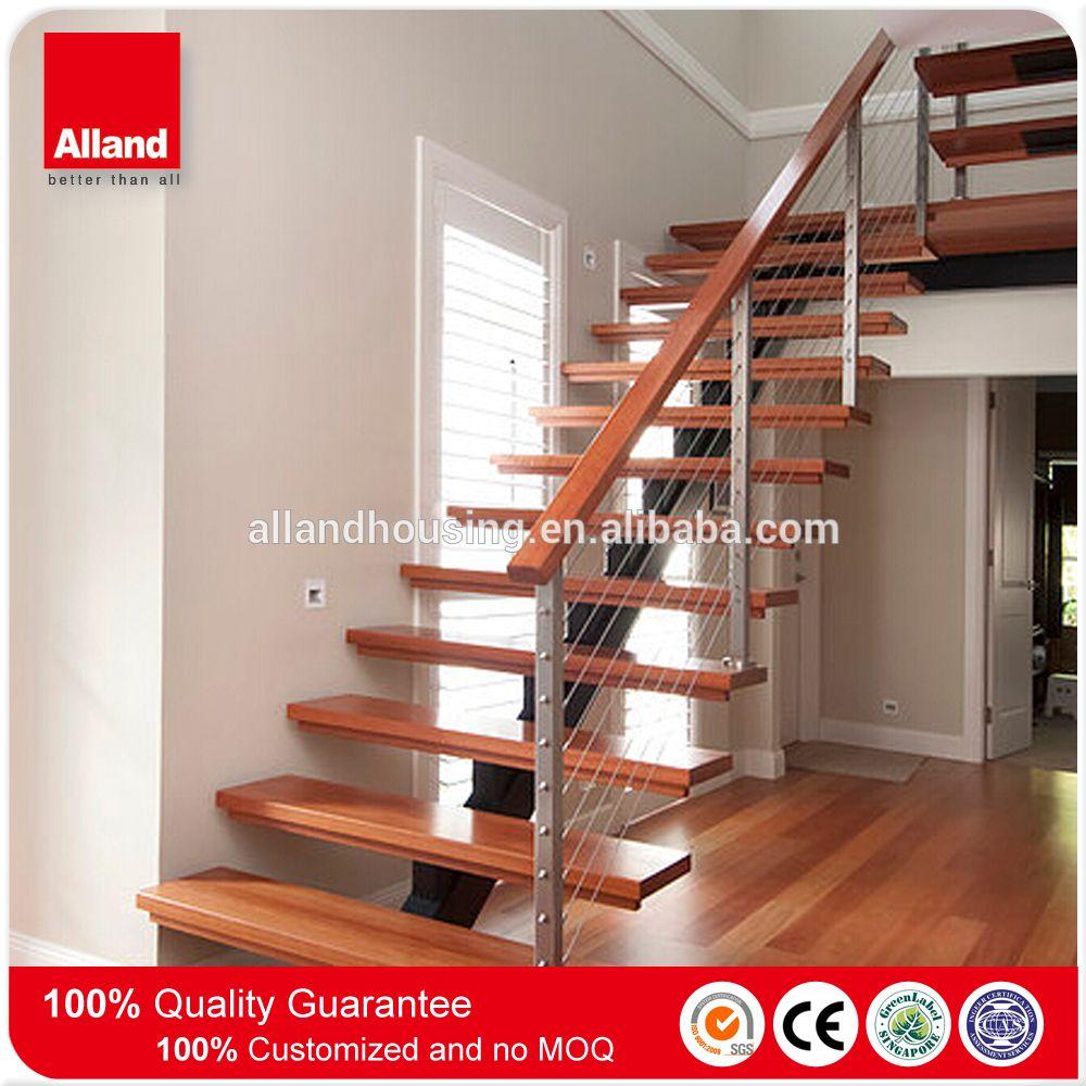 Prefab Glass Wood Stairs Single Beam Stairs (