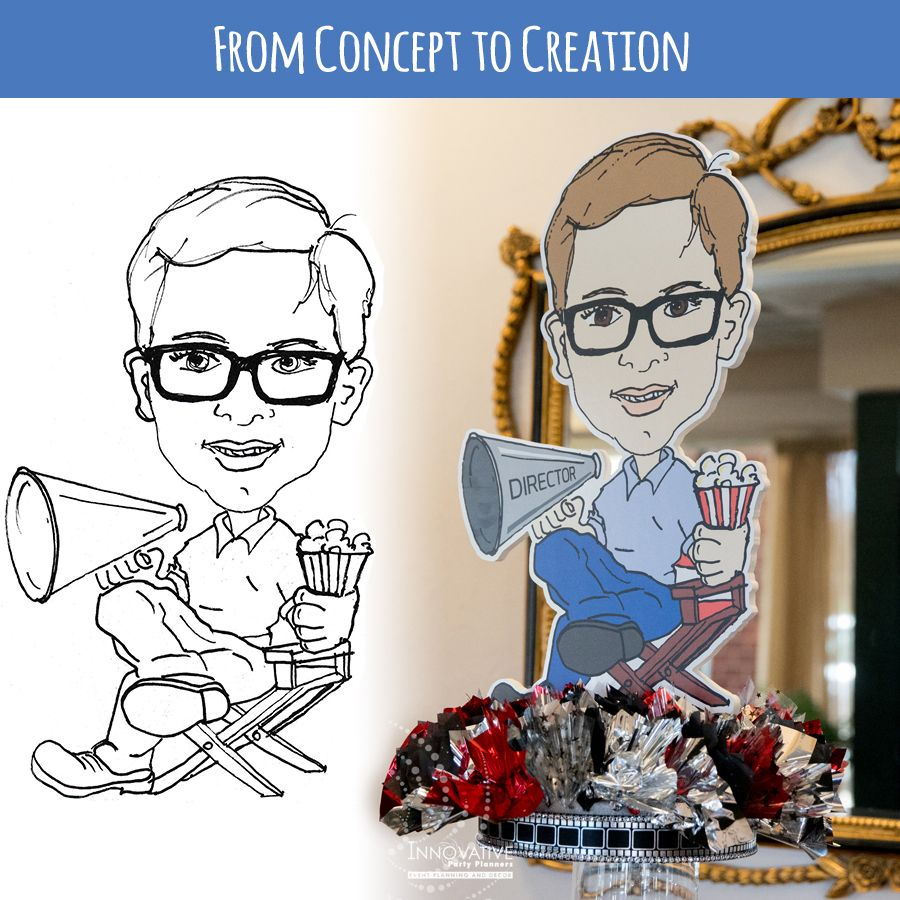 Drawing before and after featured in a centerpiece at a