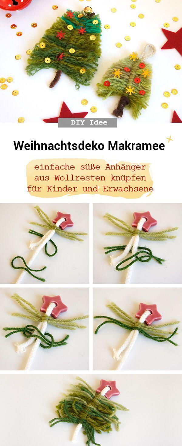 Makramee Christbaumschmuck aus Wollresten – Frau Scheiner