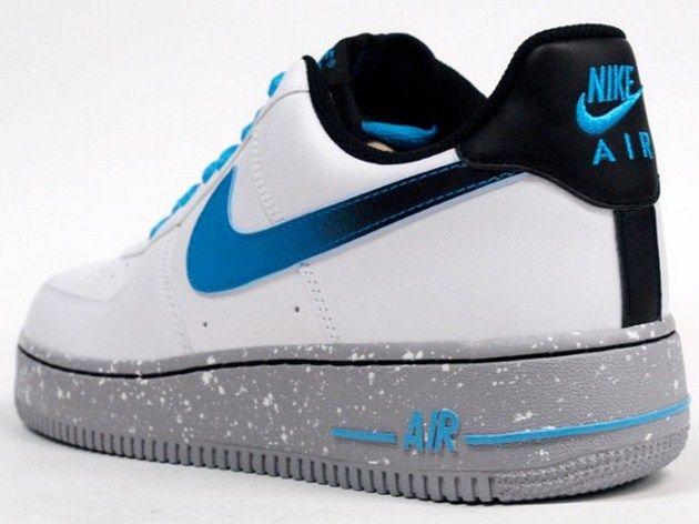 Nike Air Force 1 Faible Blanc / Bleu-gris Courant