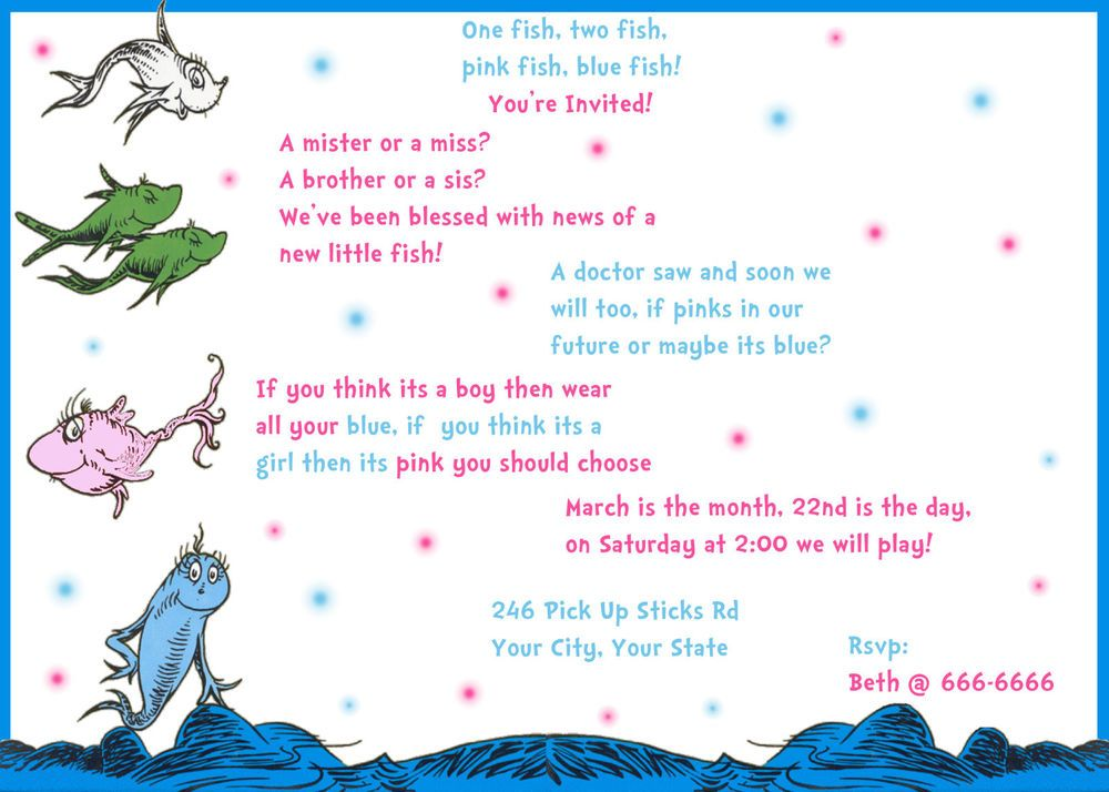 gender reveal party invitation baby shower card dr seuss one fish two fish