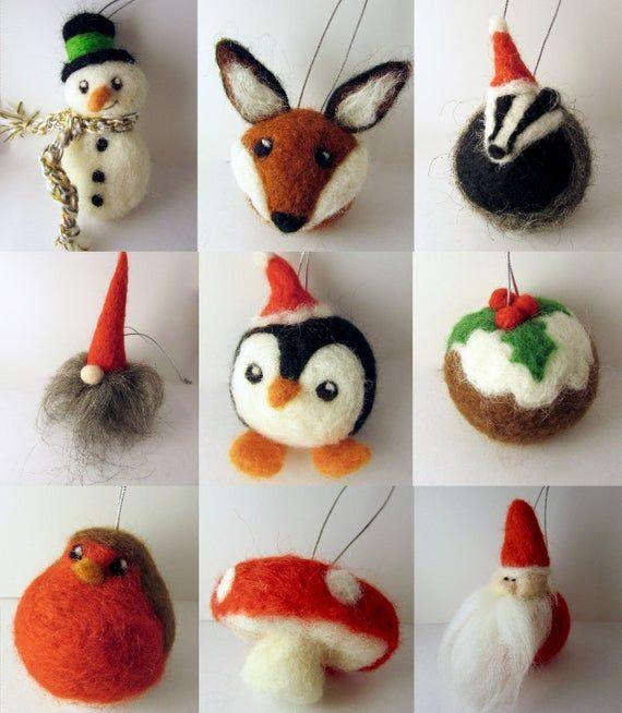 Set Rustic Woodland Christmas Tree Ornaments/ Felt Christmas Baubles/ Felted Christmas decorations/ Christmas Tree ornament/ Needle felt #feltcreations