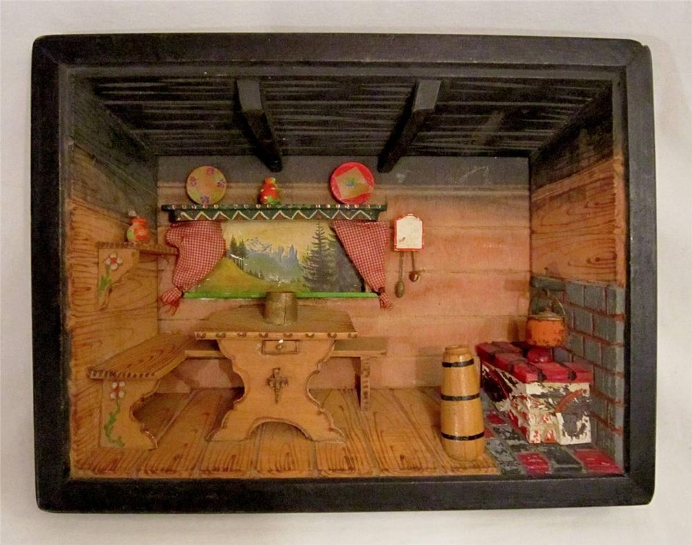 Antique 3d Hand Crafted Wood Carved Diorama Shadow Box