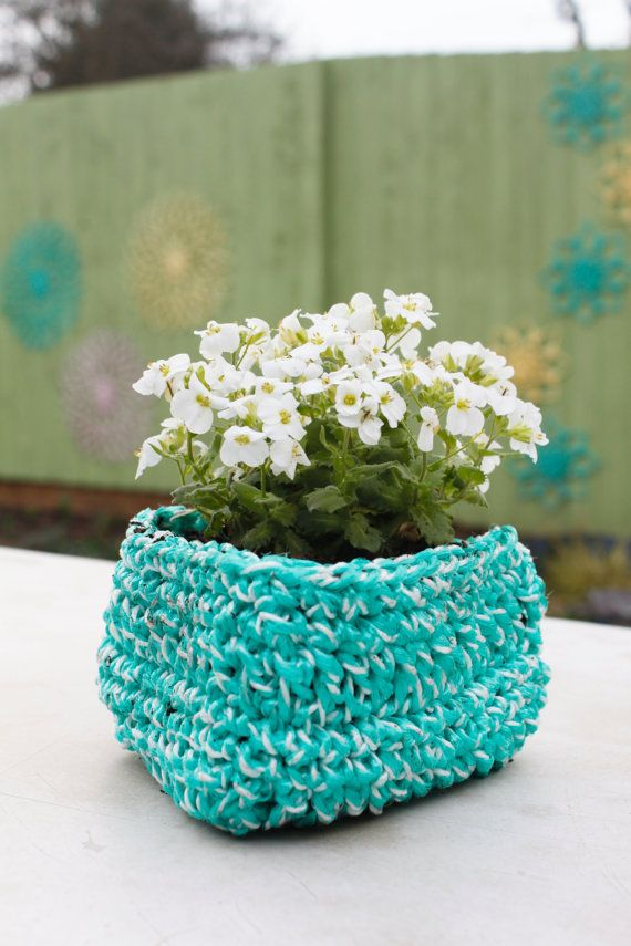 Triangle Crochet Garden Planter Crocheted by Hand by DesignbyHook