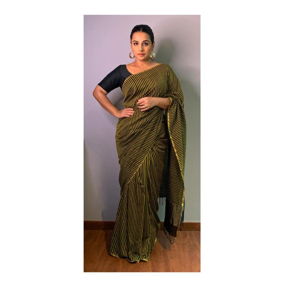 Vidya Balan E-Promotions for Shakuntala Devi which will premiere on  primevideoin on 31-7-2020. Outfit - label souravdas.Make… in 2020 |  Celebrity style, Saree designs, Sari