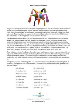 Brief history of the pinata including typical song breve immersion island presents a short history of the pinata in english and spanish good for upper elementary middle school or high school as well as native fandeluxe Images