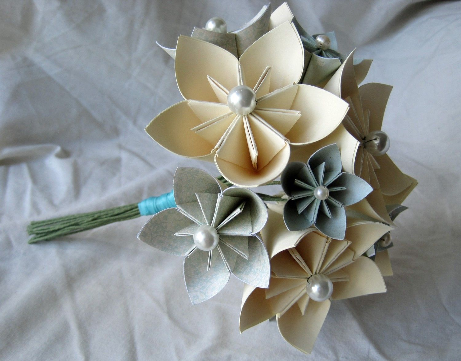 Bridesmaid Or Maid Of Honor Bouquet Of Cream And Light Blue Paper