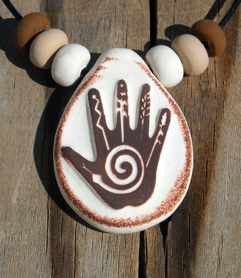 Spiral Of Life Native American Healing Hand Pendant Necklace With Beads Handmade Handmade Native American Symbols Native American Decor Native American Design