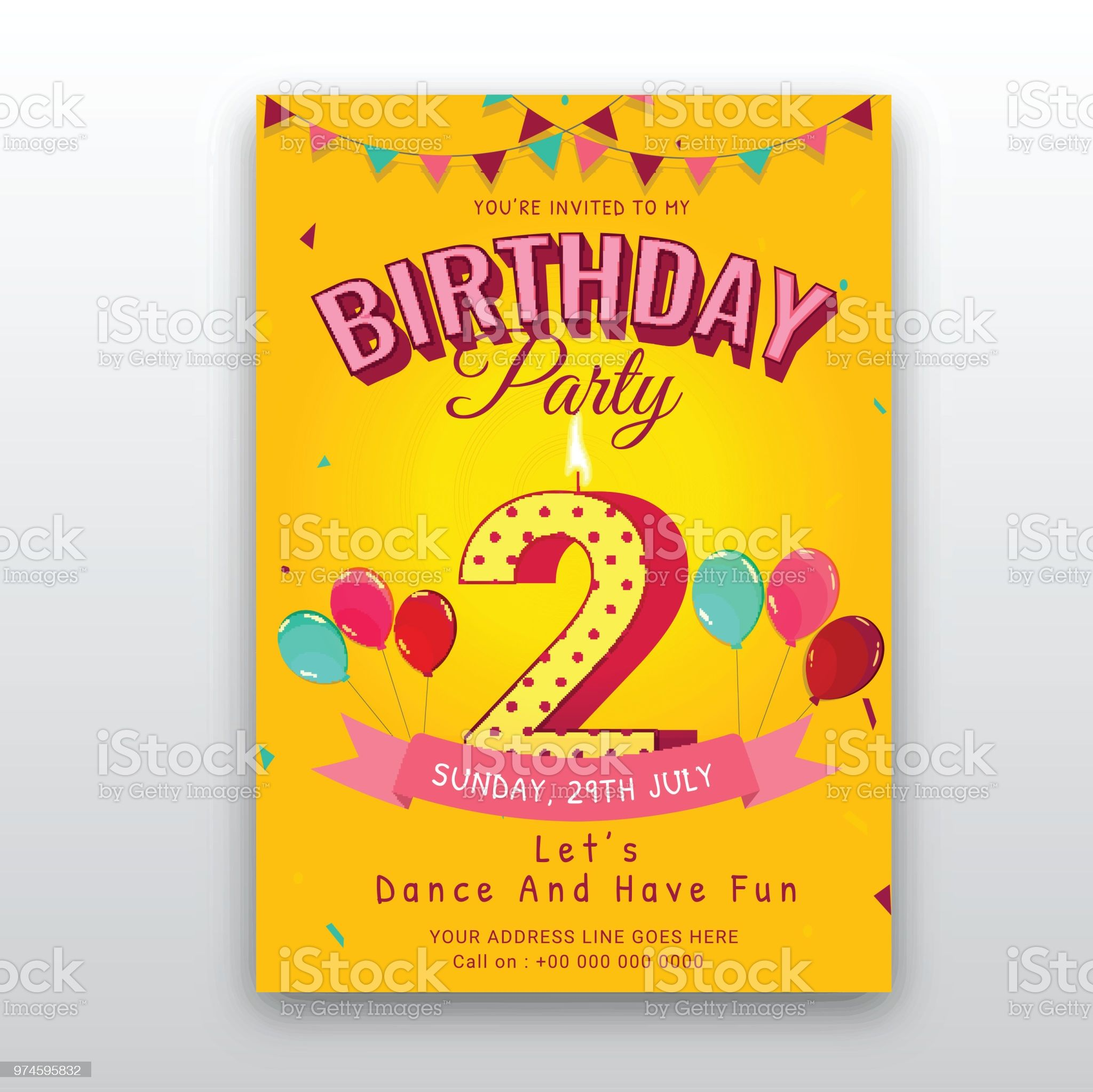 Birthday Card Invitation Template With Number 2 2nd Birthday Birthday Cards To Print Birthday Cards Cards