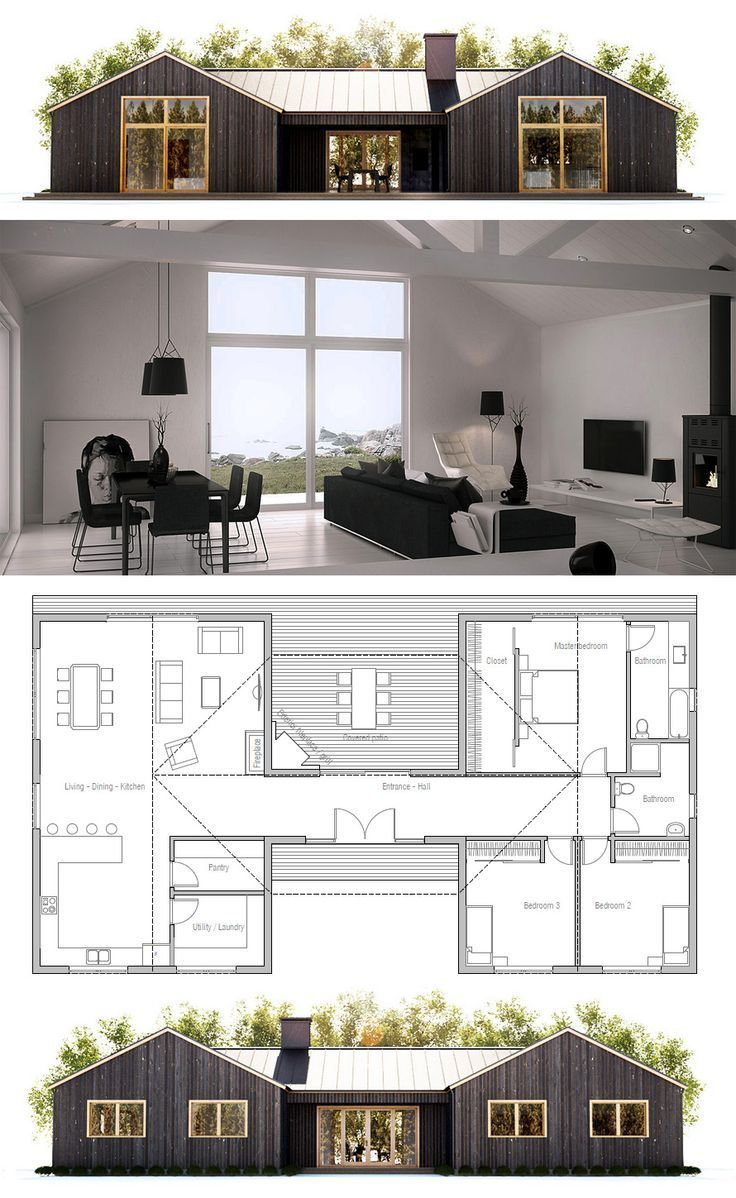 Small House Plan. Screen In The Covered Patio So You Can Use It In The  Summer When Mosquitoes And Flies Abound.   Small House Living   Pinterest    Häuschen
