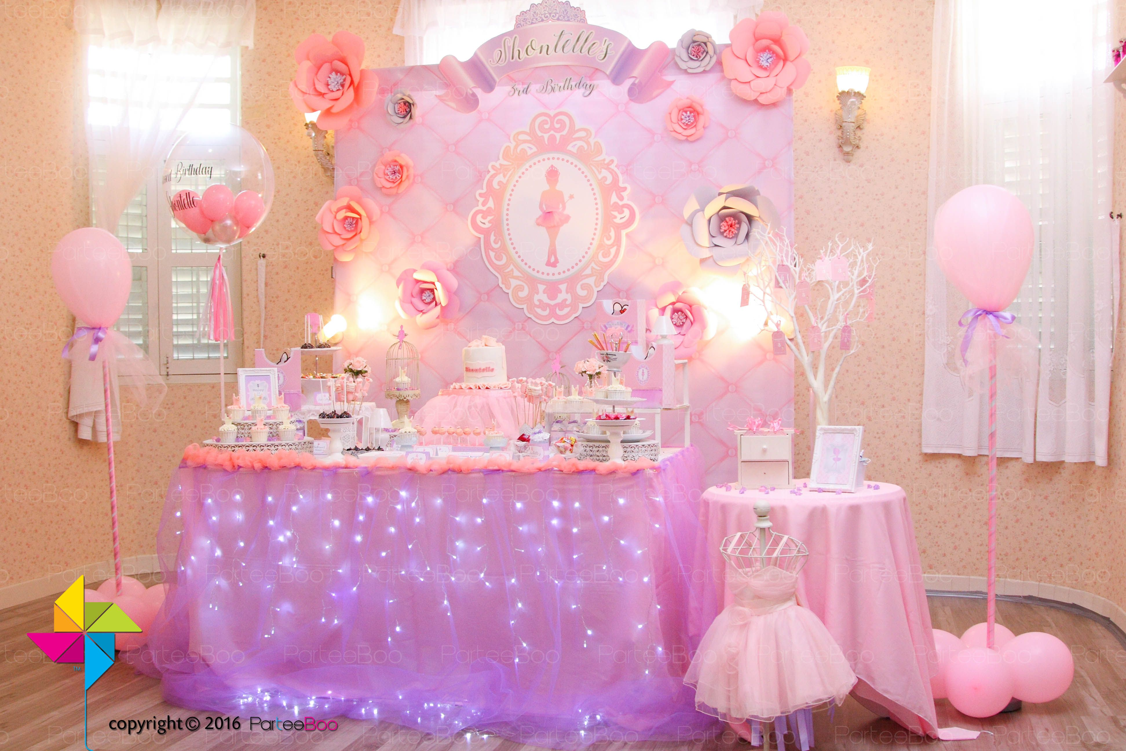 a gorgeous ballerina themed birthday partee backdrop and candy