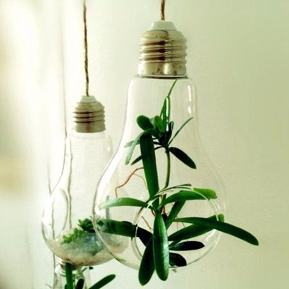 Glass Bulb Lamp Shape Flower Water Plant Hanging Vase Hydroponic Container Terrarium Glass Home Office Decoration Price Hanging Vases Glass Bulbs Bulb Vase
