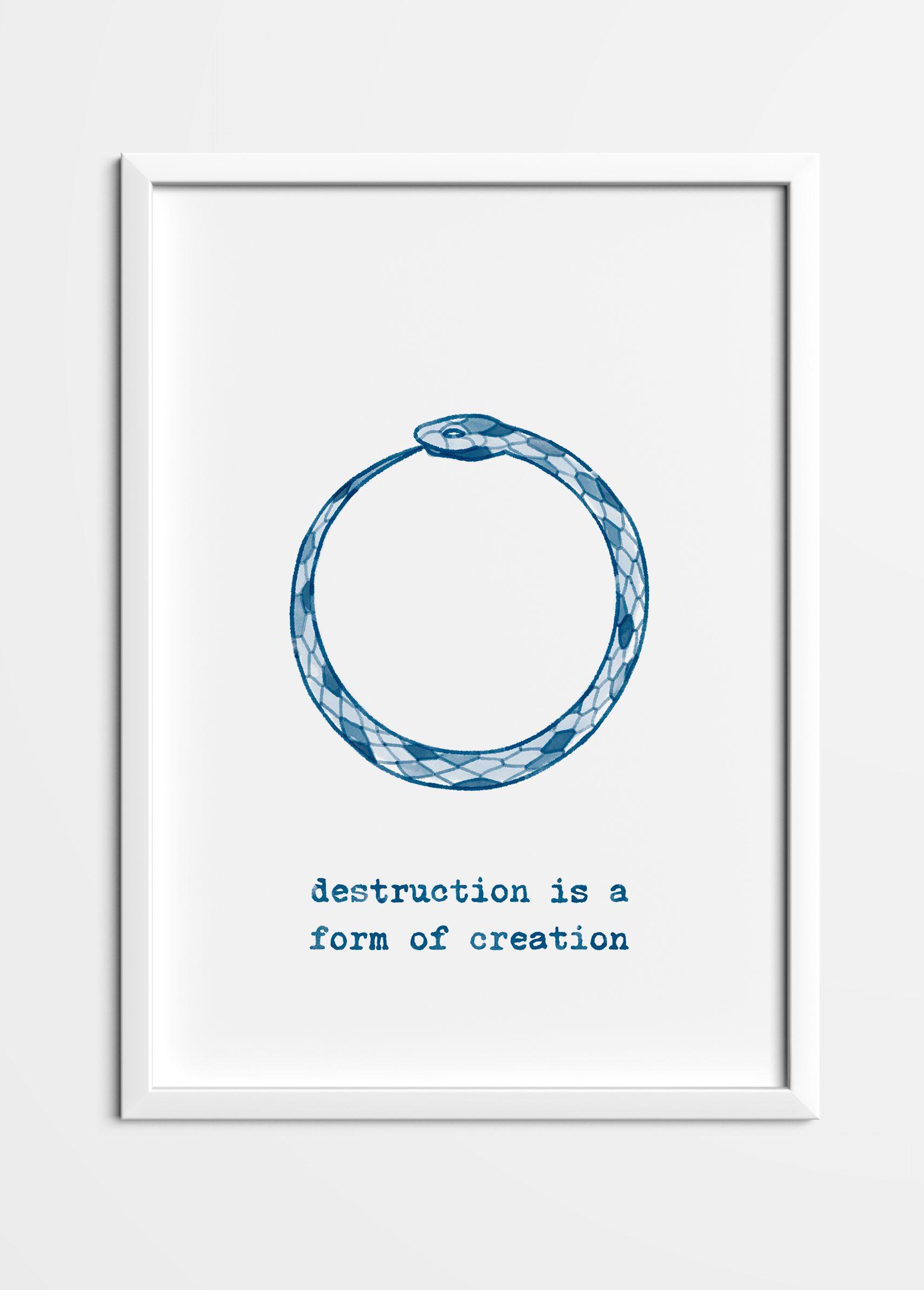 Ouroboros Quote Poster Art Heart Store Snake Quotes Ouroboros Art Posters Printable