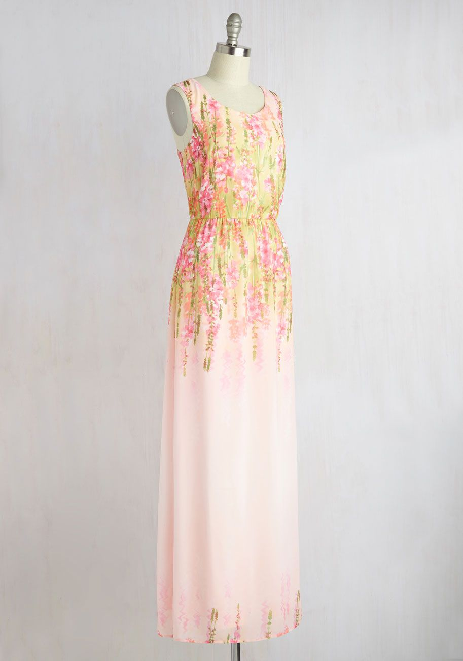 Central Park Processional Dress in Wildflowers. Channeling the energy of the romantic soiree through this pink maxi dress, you make an entrance at the ceremony which nearly rivals that of the bride! #pink #modcloth