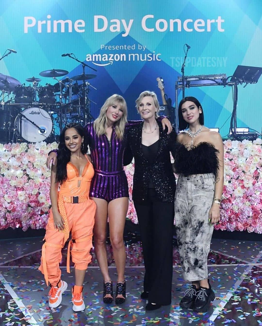 Becky G With Taylor Swift And Dua Lipa On Stage Of Primeday Today In Nyc Follow