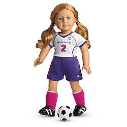 """Soccer Girl Clothes for 18/"""" American Girl Doll Shirt Shorts Knee Socks Cleats"""