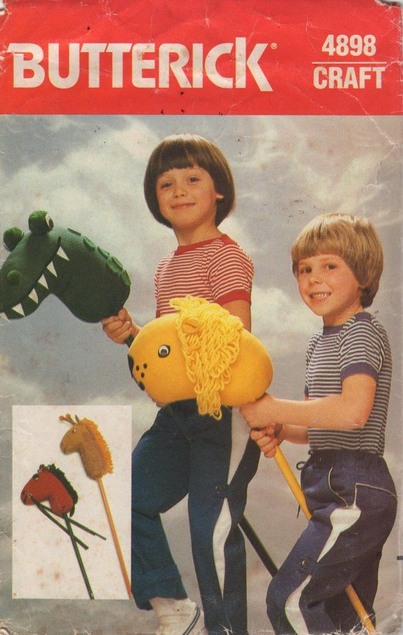 Butterick 4898 1980s Stick Horse Pattern Wild Animals Alligator Lion Giraffe Hobby Animals Toy Sewing Pattern UNCUT #horsepattern