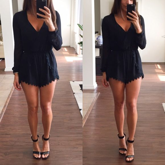 71e776be46bb Black Romper Black with sheer long sleeves romper. This romper looks great  dressy or casual. The back is slightly longer than the front.