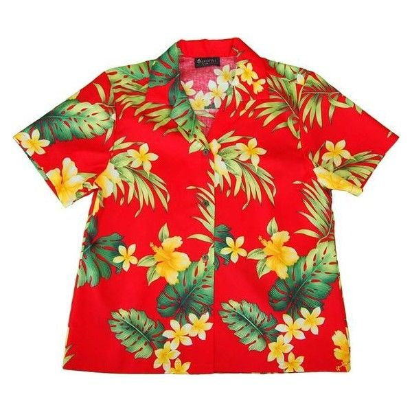 d9553ad522e Hawaiian Flowers ❤ liked on Polyvore featuring tops, hawaiian top, red shirt,  hawaiian flower shirt, shirt top and flower shirt